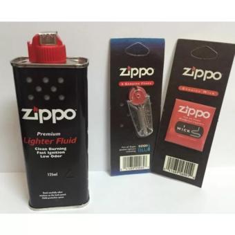 Bộ 3 sản phẩm Xăng, Đá, Bấc Zippo chính hãng