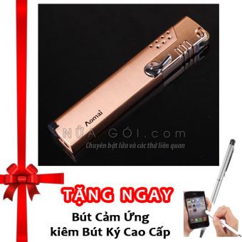 Bật lửa khò không cần giữ van AM227 F539 (Vàng) + Tặng bút cảm ứng kiêm bút ký cho smartphone và tablet (Bạc)