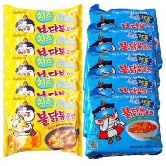 Bộ 5 gói mì cay lạnh và 5 gói mì gà cay phô mai Samyang