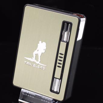 Hộp đựng thuốc lá kiêm bật lửa khò mẫu traveler F134 (Vàng)