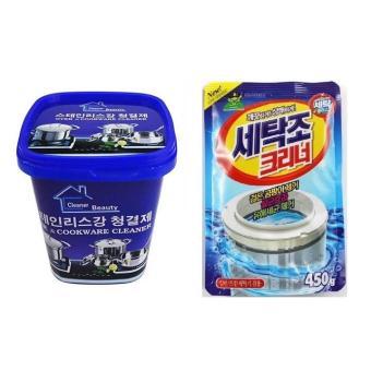 Combo Túi bột vệ sinh lồng máy giặt Hàn Quốc & Kem tẩy nhà bếp đa năng