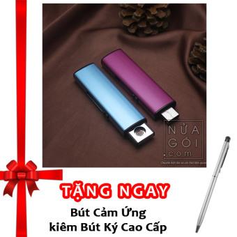 Bật lửa hồng ngoại kiểu dáng USB vỏ kim loại F526 (Tím) + Tặng bút ký kiêm bút cảm ứng cho smartphone và tablet