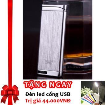 Bật lửa khò Tiger tia lửa xanh Torch Lighter F84 (Bạc) + Tặng đèn LED cổng USB