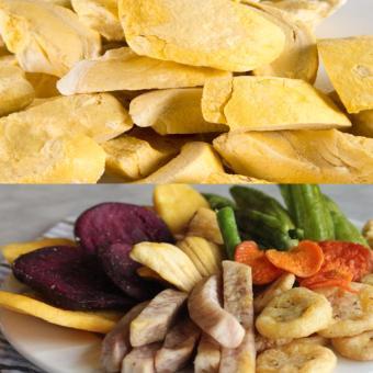 Bộ sầu riêng sấy giòn (100gr)- trái cây thập cẩm sấy giòn (500gr), hương vị tự nhiên