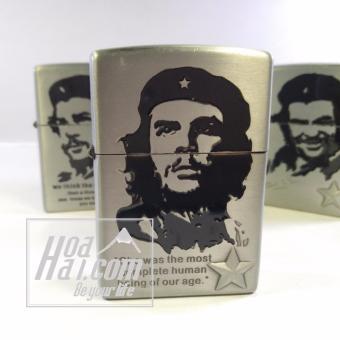 Bật lửa đá xăng HOAHAI.COM in hình Che Guevara (Bạc) + Tặng đèn led cắm cổng USB