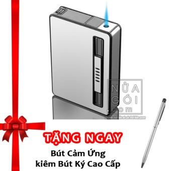 Hộp đựng thuốc lá kiêm bật lửa khò mẫu traveler F644 (trắng bạc) + Tặng bút cảm ứng kiêm bút ký cho smartphone và tablet (bạc)
