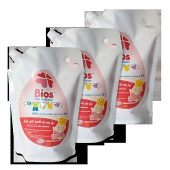 Bộ 3 túi nước giặt quần áo em bé BIOS hương Powder Incense 1 Lít