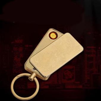 Bật lửa móc khóa sạc điện Rồng vàng Dunio 647A (Vàng đồng)