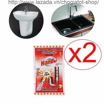 Bộ 2 gói bột thông tắc cống,đường ống nước thải,Lavabo,bồn rửa bát Hando 100Gr (Màu Đỏ)