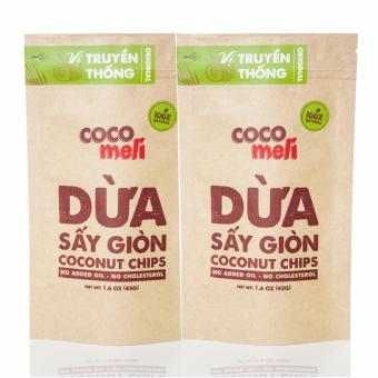 Bộ 2 bịch dừa sấy giòn Cocomeli 45gr