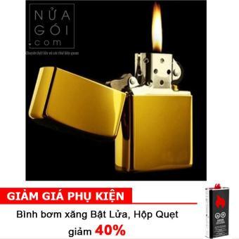 Bật lửa đá xăng Classic Cổ Điển F503 (Vàng) + Bình bơm xăng thơm 125ml