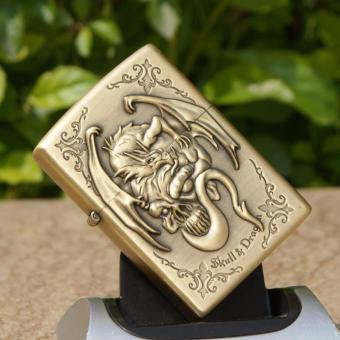 Bật lửa xăng Skull Dragon (Vàng đồng)