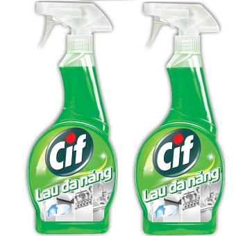 Bộ 2 nước xịt lau đa năng CIF 520ml (Xanh lá)