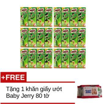 Bộ 6 lốc 4 hộp Sữa Milo 180ml+Tặng 1 khăn giấy ướt jerry 80 tờ