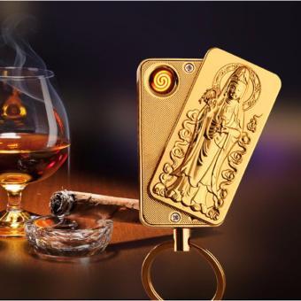 Bật lửa hồng ngoại hình Phật Quan Âm kiêm móc khóa F183 (Vàng kim)