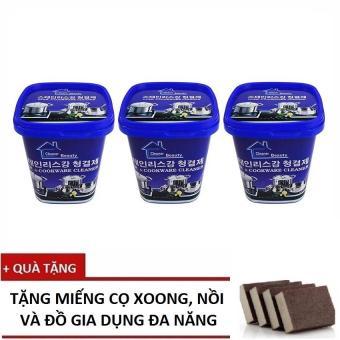 Bộ 3 hộp Kem đa năng tẩy xoong nồi và đồ gia dụng Hàn Quốc+ Tặng Miếng cọ đa năng