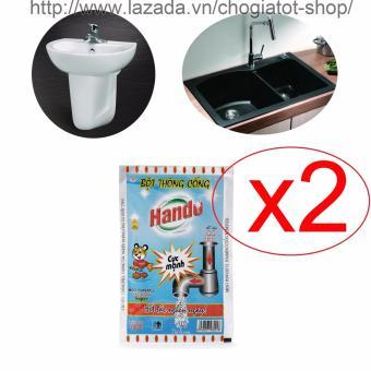 Bộ 2 gói bột thông tắc cống,đường ống nước thải,Lavabo,bồn rửa bát Hando 100Gr (Màu xanh)