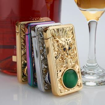 Bật Lửa Dragon Sapphire Mắt Xanh (Vàng)