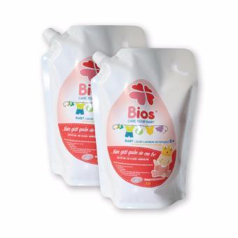 Bộ 02 túi Nước giặt quần áo em bé BIOS hương Powder Incense 1 Lít