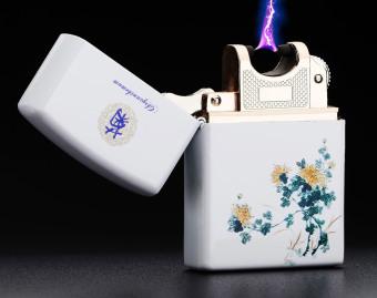 Bật lửa Xung Điện chống gió cao cấp hoạ tiết Hoa Cúc F1