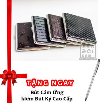 Hộp đựng thuốc lá 20 điếu vỏ da F623 (Đen) + Tặng bút cảm ứng kiêm bút ký cho smartphone và tablet (bạc)