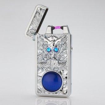 Bật Lửa đầu rồng Mắt Xanh Cao Cấp (Bạc) kèm sạc USB