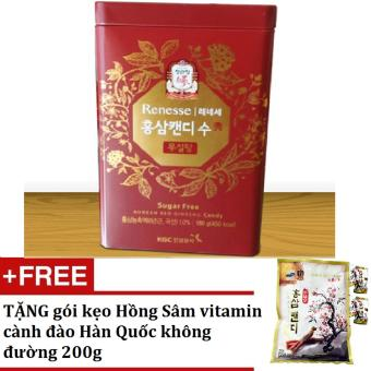 Bộ Kẹo Hồng Sâm hộp thiếc cao cấp không đường + Tặng gói kẹo Sâm vitamin cành đào Hàn Quốc không đường