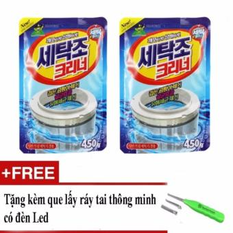 Bộ 2 gói bột làm sạch lồng máy giặt tặng dụng cụ lấy ráy tai có đèn led