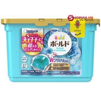 Hộp 18 viên nước giặt xả Gel Ball hương hoa - sản xuất tại Nhật Bản (xanh)