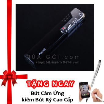 Bật lửa khò không cần giữ van AM227 F539 (Đen) + Tặng bút cảm ứng kiêm bút ký cho smartphone và tablet (Bạc)
