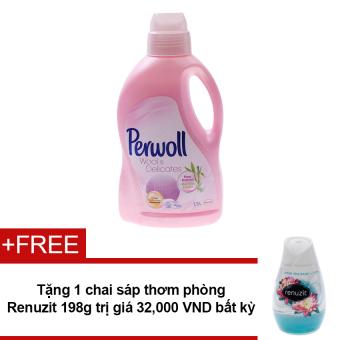 Nước giặt cho vải len và vải mỏng Perwoll Wool & Delicates 1.5L + Tặng sáp thơm phòng Renuzit bất kì 198g