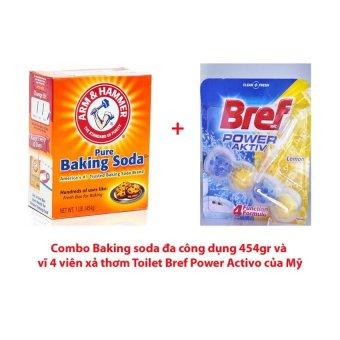 Bộ baking soda đa công dụng Arm & Hammer 454gr và vĩ 4 viên xả thơm toilet Bref Power Active