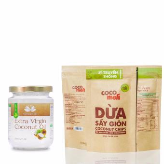 Bộ 03 gói dừa sấy giòn Cocomeli 45gram và dầu dừa tinh khiết Natural Shop 220ml