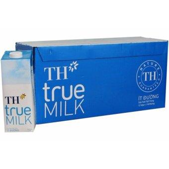 Bộ 12 Hộp Sữa Tươi Tiệt Trùng TH True Milk Ít Đường 1L