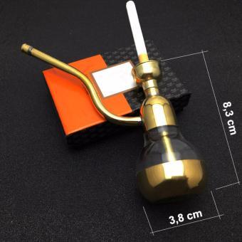 Tẩu lọc và hút thuốc lá, thuốc lào đa năng 807 bằng hợp kim, thân nhựa trong suốt (mạ màu vàng gold)