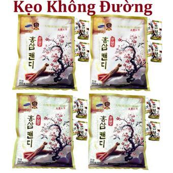 Bộ 4 gói Kẹo Sâm vitamin cành đào Hàn Quốc không đường 200g/gói