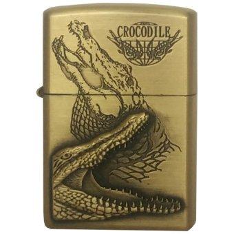 Bật lửa xăng CROCODILE (vàng đồng)