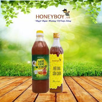 Bộ Mật ong Thô HONEYBOY 1000ml và Mật ong sữa chúa HONEYBOY 500ml