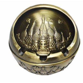 Gạt tàn thuốc lá tinh cầu hợp kim, có nắp, cổ điển (đồng vàng)