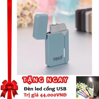 Bật lửa Lighter Khò Ngọn Lửa Xanh F85 (Xanh) + Tặng đèn LED cổng USB