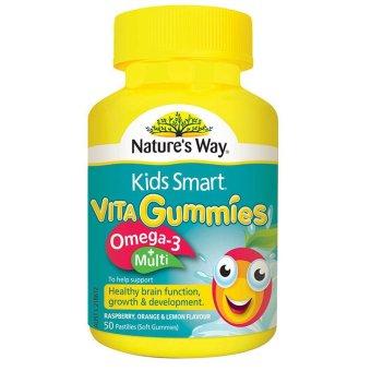 Kẹo mềm bổ sung vitamin và omega-3 cho trẻ Nature's Way Kids Smart Vita Gummies Multi + Omega-3 50 viên
