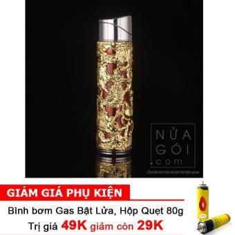 Bật lửa khò kiểu Kim Long Trụ có đèn báo F547 (Vàng) + Bình bơm gas Bật lửa 80g