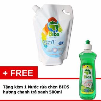 Nước Giặt BIOS đậm đặc 8+ hương Pureness Incense 900g Tặng Nước Rửa Chén BIOS Đậm Đặc hương Chanh trà xanh 500ml