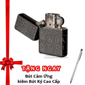 Bật lửa xăng cổ điển kèm box F571 (đen nhám) + Tặng bút cảm ứng kiêm bút ký cho smartphone và tablet (bạc)
