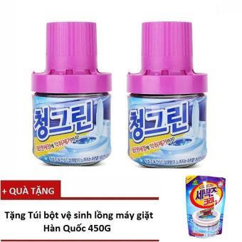 Bộ 2 chai thả bồn cầu diệt khuẩn, khử mùi Hàn Quốc - 400g/Chai + Tặng 1 Túi tẩy vệ sinh lồng giặt Hàn Quốc