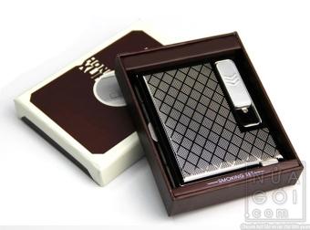 Hộp đựng thuốc lá classic kiêm bật lửa hồng ngoại kiểu cổ điển kèm cáp sạc F624 (đen xám)