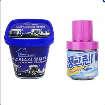 Combo Kem vệ sinh nhà bếp đa năng Hàn Quốc & Chai thả bồn cầu