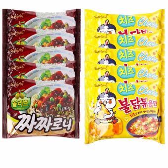Bộ 5 gói mì trộn tương đen và 5 gói mì gà cay phô mai Samyang
