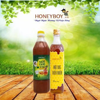Bộ Mật ong Thô HONEYBOY 1000ml và Mật ong thiên nhiên HONEYBOY 500ml