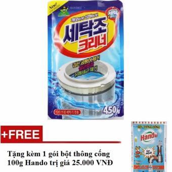 Bột tẩy vệ sinh lồng máy giặt 450g + Tặng kèm 1 gói bột thông cống nội địa Hando 100g HH576